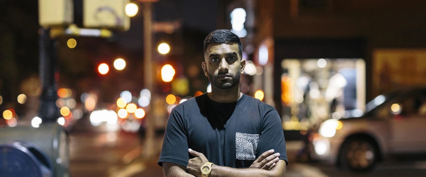 Image: Comedian Aamer Rahman poses for a portrait outside Union Hall   in Brooklyn, New York while on his first US tour.