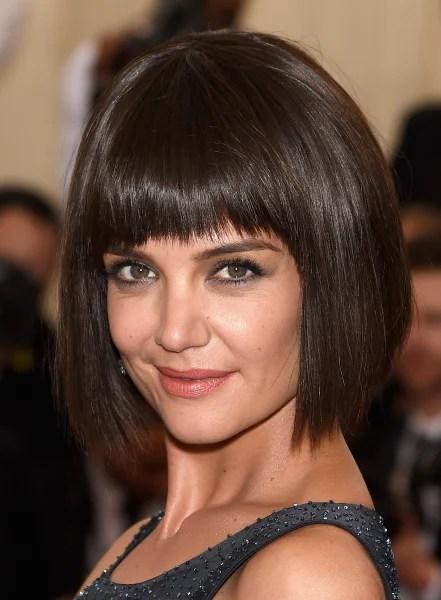 Katie Holmes bangs give her hair a Jane Birkin vibe