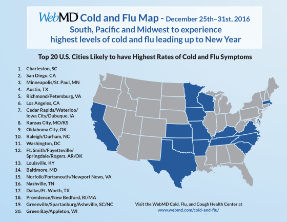Cold and flu symptoms expected to rise over the holidays