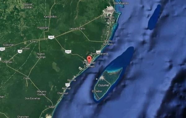 Image: Map showing Playa del Carmen