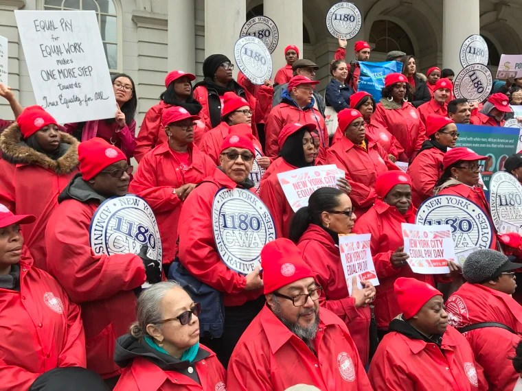 Equal Pay Day: Women Rally Against Wage Gap. Workplace Discrimination