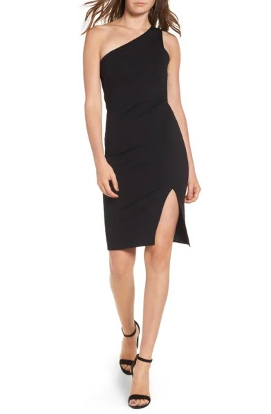 One shoulder black dress Nordstrom
