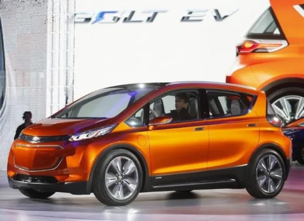 The Chevrolet Bolt EV electric concept car is unveiled during the first press preview day of the North American International Auto Show in Detroit