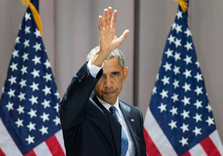 President Barack Obama waves as he leaves after speaking about the nuclear deal with Iran in 2015