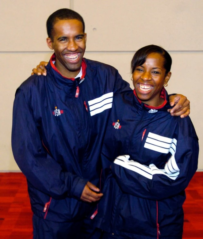 Keeth and Erinn Smart during a news conference to announce the men's and women's U.S. Olympic Fencing team