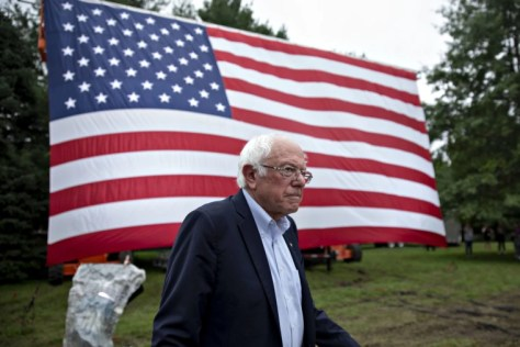 Image: Sen. Bernie Sanders arrives for the Polk County Steak Fry in Des Moines, Iowa, on Sept. 21, 2019.