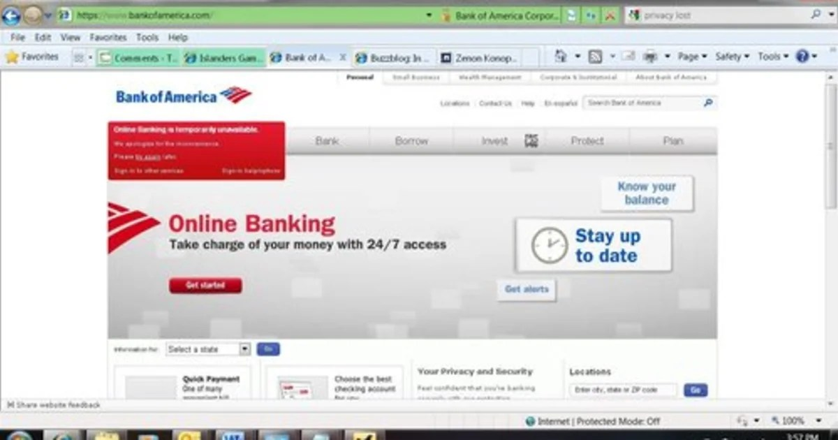 Bank Of America Online Banking Down For Now