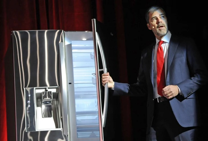 Image: Dave VanderWaal, LG exec, shows off smart fridge