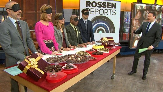 Wearing blindfolds, the TODAY anchors tackle the Rossen Reports chocolate taste test.