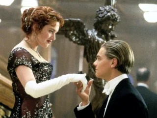 "In this image released by Paramount Home Entertainment, Kate Winslet and Leonardo DiCaprio are shown in a scene from, ""Titanic."" (AP Photo/Paramount P..."