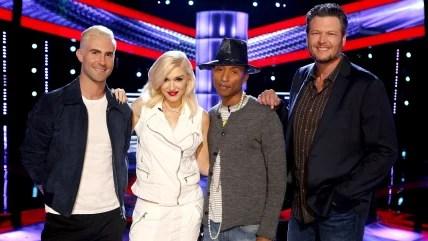 Image:  Adam Levine, Gwen Stefani, Pharrell Williams, Blake Shelton