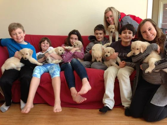 Adults and kids holding puppies on a couch.