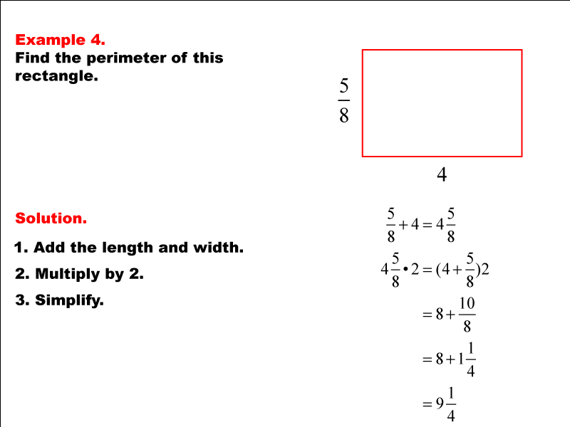 Math Example: Rectangle Perimeter with Fractions--Example