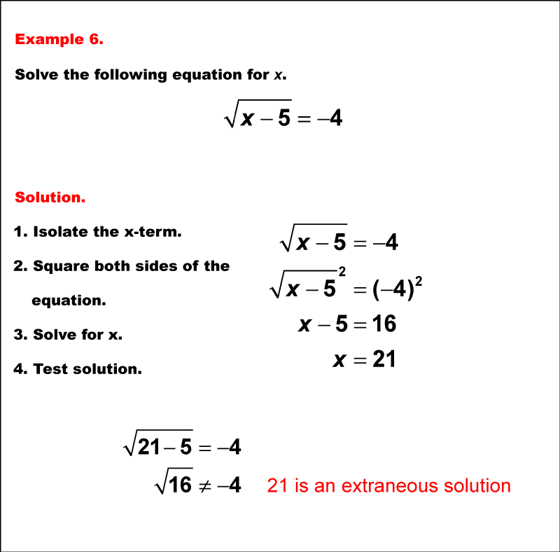 Math Example: Solving Radical Equations--Example 06