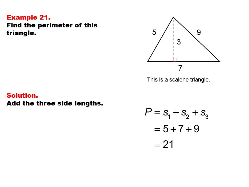 MATH EXAMPLE: Area and Perimeter of Triangles: Example 21