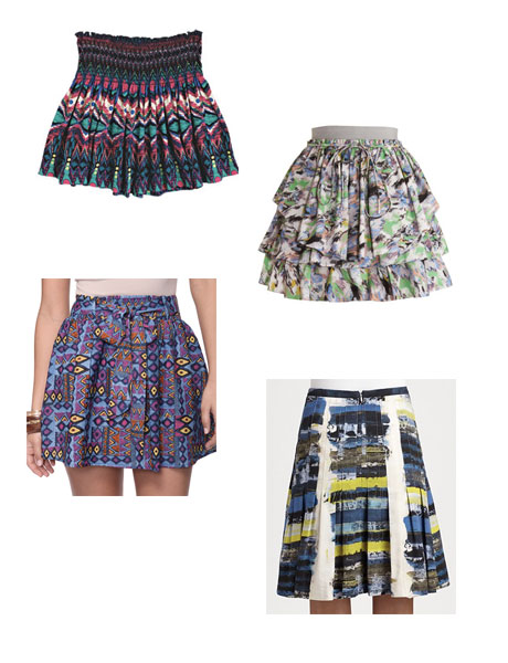 tribal print skirts