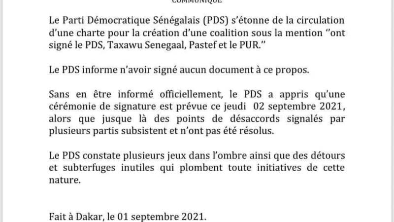 """Coalition avec Pastef, Taxawu Dakar et Pur: le PDS se dit """"étonné"""" (Communiqué)"""