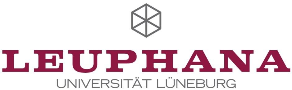 Logo der Leuphana Universität Lüneburg mit Hexagon und schwarz-rotem Schriftzug