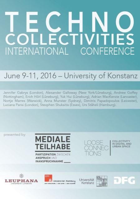 Plakat der Konferenz. Türkisblauer Hintergrund mit weißer und schwarzer Schrift