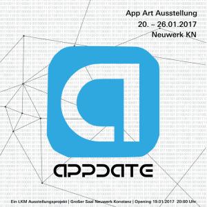 Ankündigung der Ausstellung Appdate. Ein blaues Quadrat mit dem Buchstaben a in der Mitte vor weißem Hintergrund mit vielen kleinen grauen Zahlen, die 0 und 1 zeigen