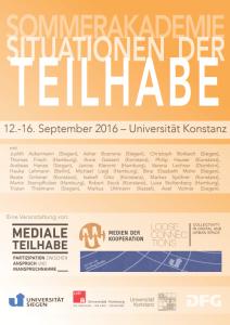 Plakat der Sommerakademie Situationen der Teilhabe mit Namen der Beteiligten Personen und Logos
