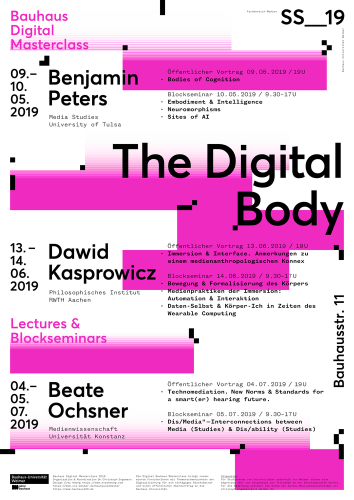 Poster in white, rosa and black of the lecture series showing titles of the talks