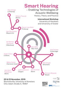 Poster of the workshop showing a networked ear hightlighting the multiple connections of hearing, listening and technologies in the contemporary world.