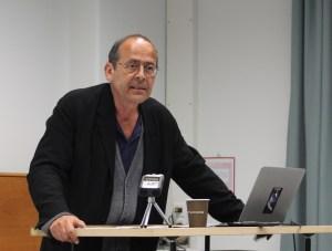 The photo shows Bernard Stiegler at a workshop in Zurich, 2016