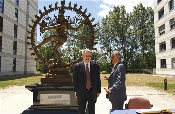 Indian gift unveiled at CERN: the statue of the Indian deity Shiva was unveiled by His Excellency K M Chandrasekhar. ambassador (WTO Geneva ...