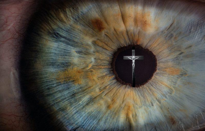 Eye by v2osk via unsplash.com; Crucifix by Mateus Campos Felipe via unsplash.com