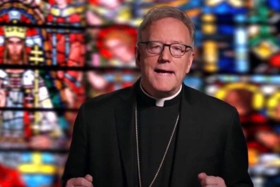 Bishop R. Barron via YouTube and Iglesia de Sta. Ethelgreda. Londres by franciscogonzalez via cathopic.com