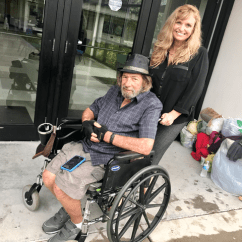 Wheelchair Man Upholstered Nailhead Dining Chairs Dunedin Woman Raises Money To Give Homeless Electric
