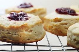 Media Bakery ID: PDI0364879 Buttermilk Biscuit with Raspberry Filling