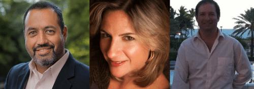 Left to right: Hugo Balta, Adriana Waterson, Adam Jacobson