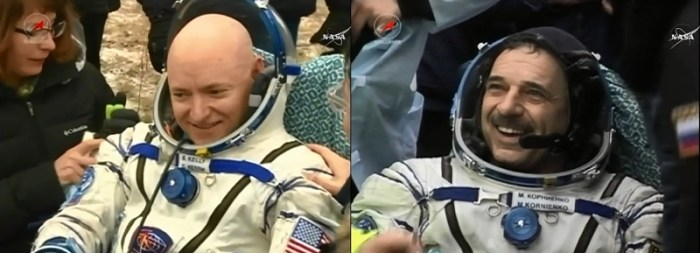 NASA astronaut and Expedition 46 Commander Scott Kelly and his Russian counterpart Mikhail Kornienko returned to Earth Tuesday after a historic 340-day mission aboard the International Space Station. They landed in Kazakhstan at 11:26 p.m. EST (10:26 a.m. March 2 Kazakhstan time). (PRNewsFoto/NASA)