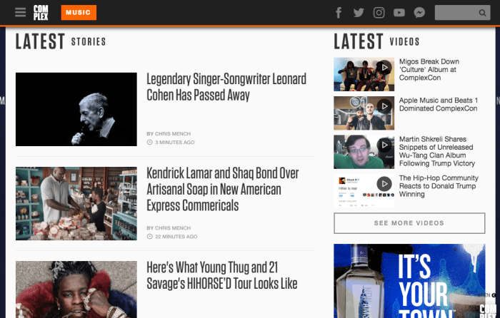 Complex Magazine - a top music and entertainment website
