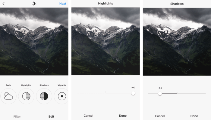 Instagram Highlights and Shadows