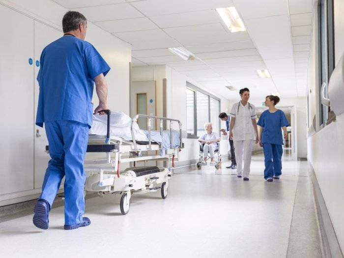 Doctors and nurses in a hospital hallway