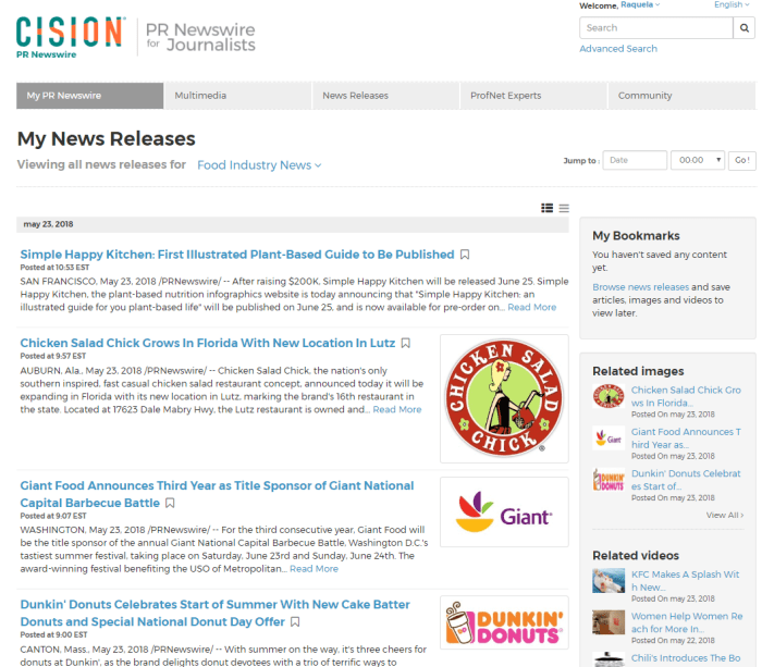 PR Newswire for Journalists Food Industry News profile release results