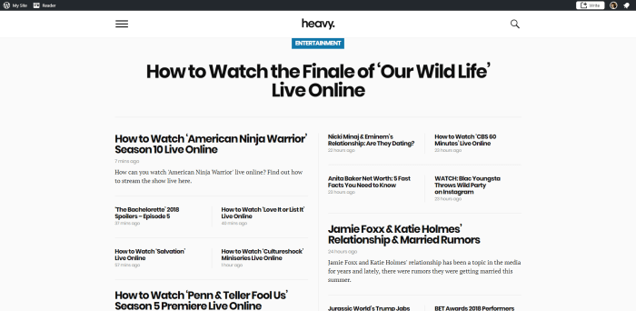 Screenshot of heavy.com homepage