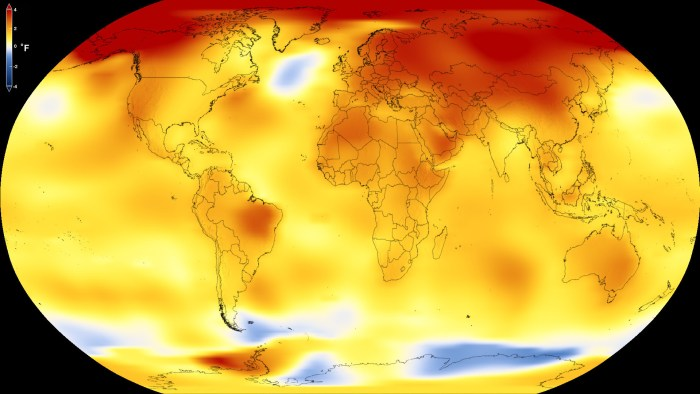 NASA global temperatures 2013 to 2017, as compared to a baseline average from 1951 to 1980.