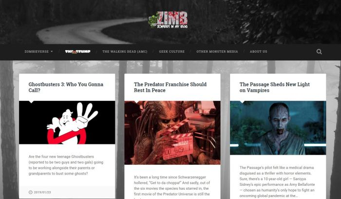 Zombies In My Blog homepage