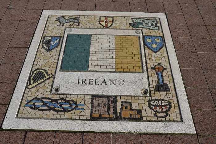Tilework with the flag of Ireland included in the center
