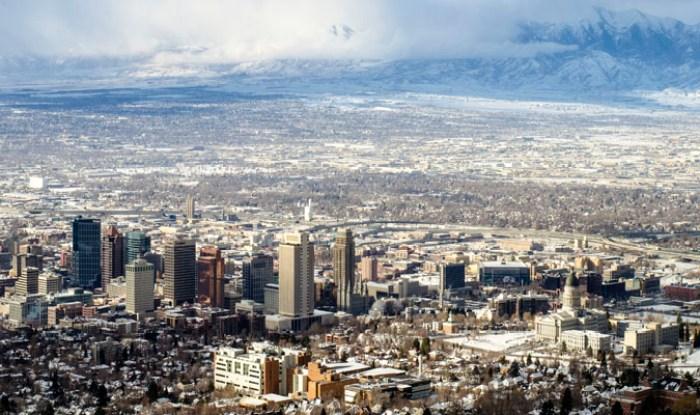 Aerial view of Salt Lake City, Utah
