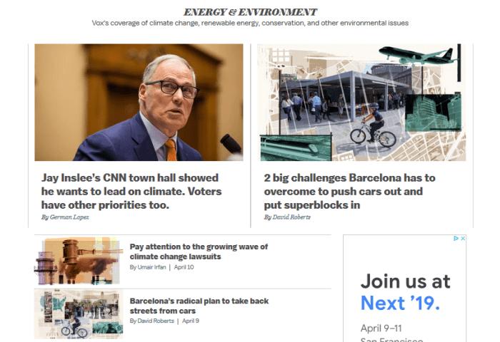 Vox website - Energy & Environment section