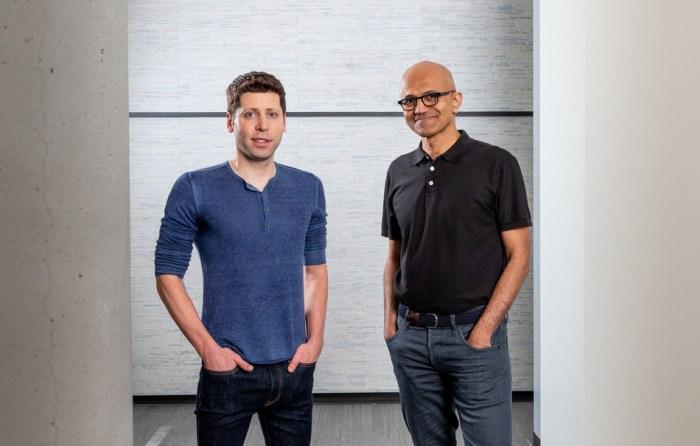 Sam Altman, CEO of OpenAI (left), and Microsoft CEO Satya Nadella.