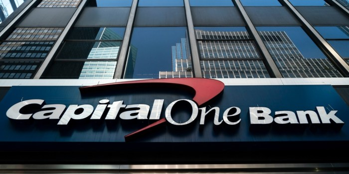 Capital One Bank logo on building exterior