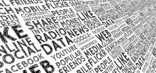 Rows of social media-related terms on a white background