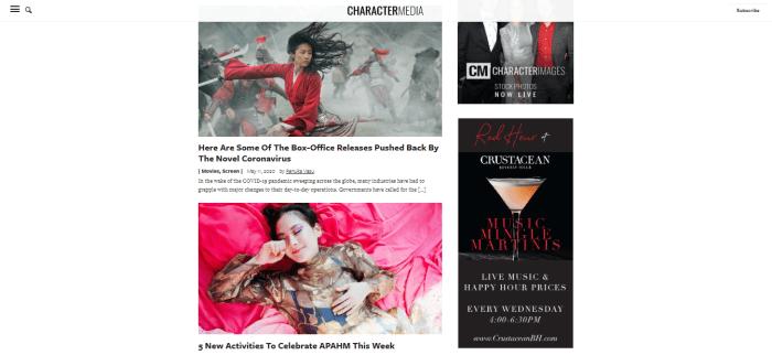 Character Media homepage