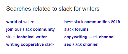Screenshot of Google related search queries